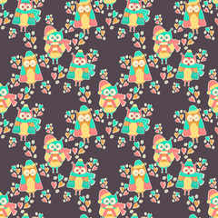 Seamless pattern of colorful owls on a dark background