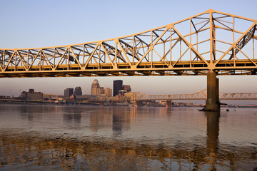Sunrise colors on the bridge in Louisville
