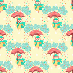Seamless pattern with clouds and owls with an umbrella