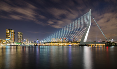 Aluminium Prints Swan Erasmusbrug by Night