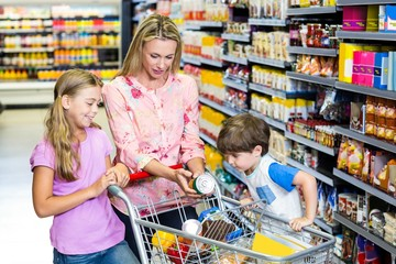 Mother and kids at the supermarket