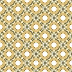 Seamless background image of vintage round geometry shape pattern.