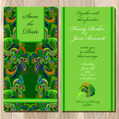 Peacock Feathers wedding invitation card. Printable Vector illustration.