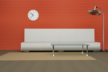 Simple modern living room 3d