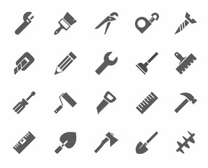 Tools, icons, monochrome.