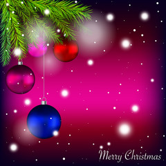 Merry Christmas holidays card with colorful baubles and Christmas tree twigs