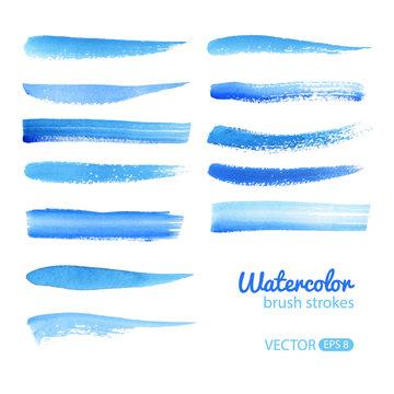 Watercolor Blue Brush Stroke Set