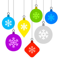 Christmas Background with Flat Balls and Snowflakes. Vector