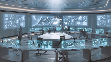 3D rendered modern, futuristic command center interior with people silhouettes Wall mural
