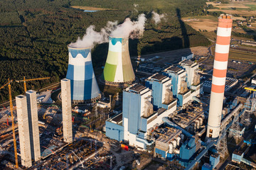 Aerial view on the power station near Opole city