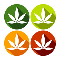 Simple Cannabis Leaf Circle Flat Icons