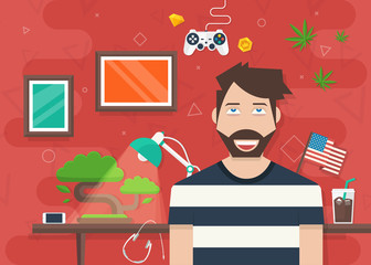 Handsome Character Vector Illustration in Flat Style with other elements GamePad, Coins, Phone, HeadPhones, Bonsai Tree, Lighting Lamp, USA Flag, Cup of Coffee, Marijuana leaves and Frames for Photo