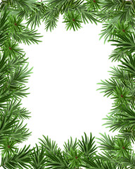 Frame of fir branches for Christmas card. Greeting card template