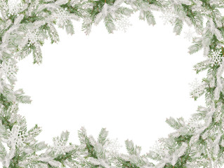 frame of the snow-covered Christmas tree for Christmas card