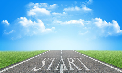 word start on asphalt road