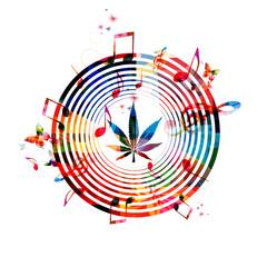 Colorful marijuana design with music notes
