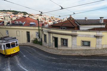 Tram in the hills of Lisbon, Portugal
