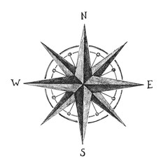 hand drawn wind rose