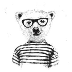 Fototapete - Hand drawn Illustration of dressed up hipster bear