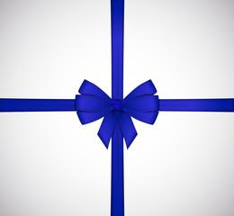 Shiny blue satin ribbon bow isolated on white background.