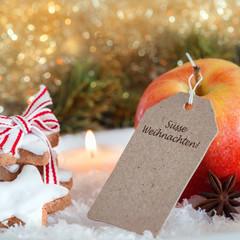 Süsse Weihnachten-Karte mit weihnachtlichen Süßigkeiten