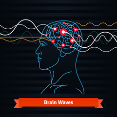 Brain waves. Electrodes connected to a man head