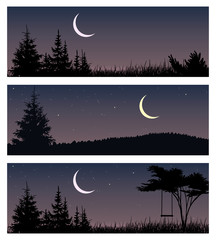 Set of night landscapes with new moon and trees. Horizontal vector illustrations.