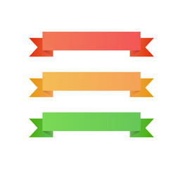 Three Ribbons - Red, Gold, Green - Isolated Illustraion