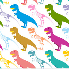 Dinosaur and skeleton seamless pattern. Tyrannosaurus t-Rex and