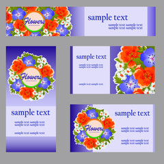Set of four cards with floral pattern for your business