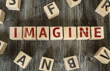 Wooden Blocks with the text: Imagine