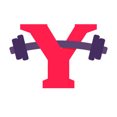 Y letter with barbell.