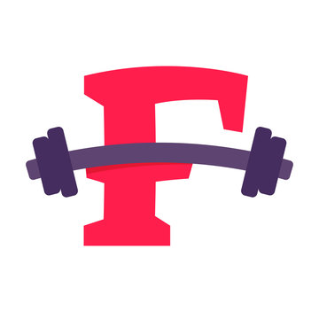 F letter with barbell.