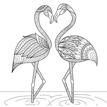 Hand drawn flamingo couple zentangle style for coloring book,invitation card,logo,shirt or bag design