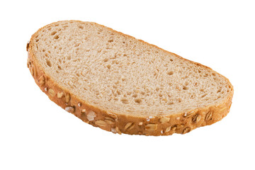 Slice of brown bread isolated on white background