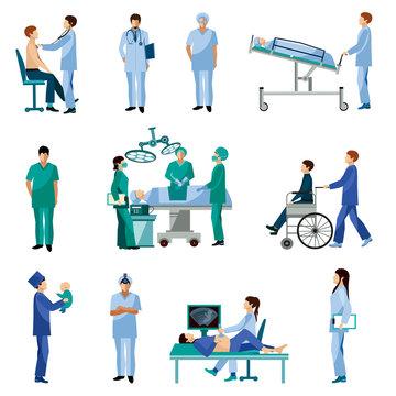 Medical professional people flat icons set