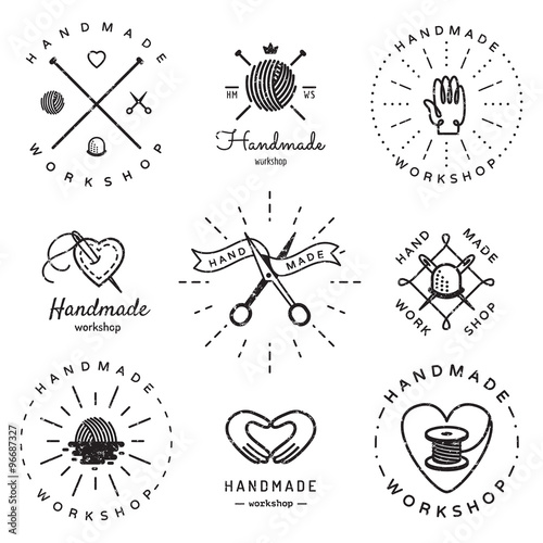 handmade workshop logo vintage vector set hipster and retro style