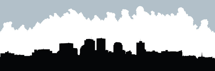 Skyline silhouette of the city of Dayton, Ohio, USA.