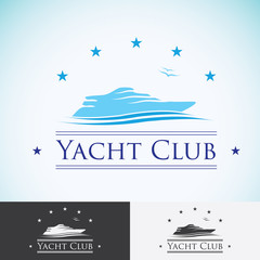 Yacht club, logo design template. sea cruise, tropical island or vacation logotype icon
