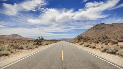 Endless country highway in Death Valley, California, USA