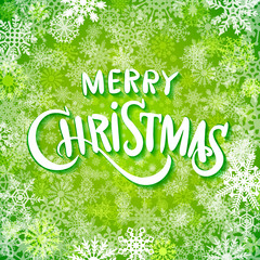merry christmas and happy new year, handwritten text on background with snowflakes