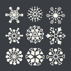 Winter snowflakes vector set. Christmas design for web and print.