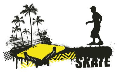 skater with grunge summer scene