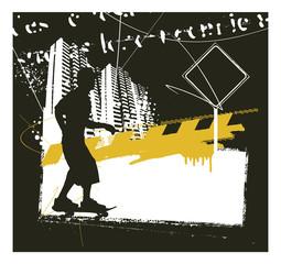 skater with grunge urban scene