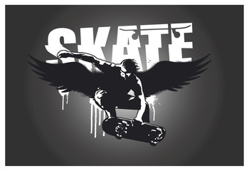 skater with wings and dark background