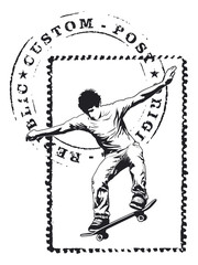 stamp with seal mark and skater