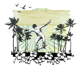 summer circle scene with hibiscus skater running and palms