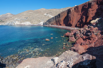Santorini - The Red beach from south part of the island.