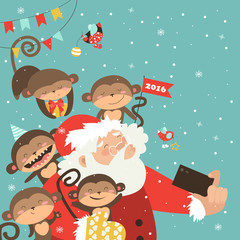 Santa and monkeys take a selfie