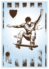 vertical poster with acrobatic skate jump